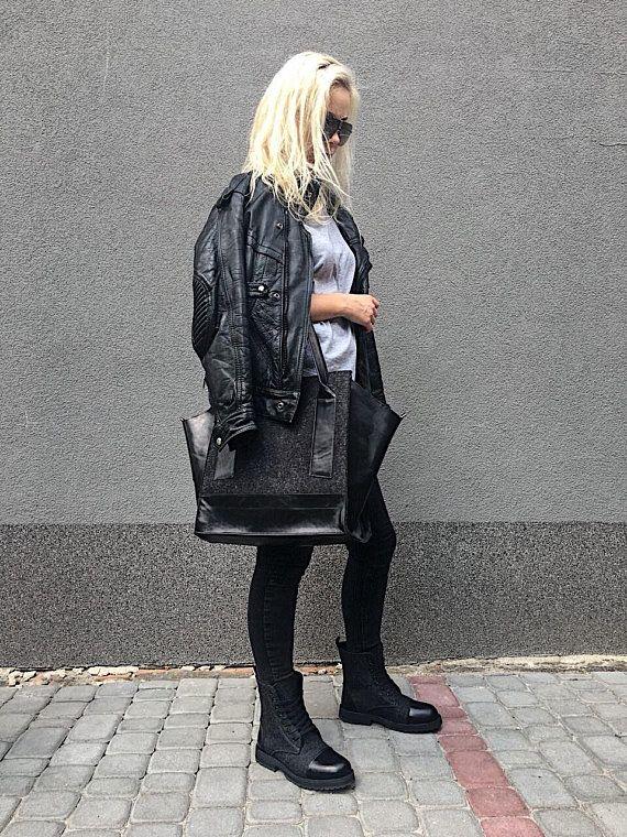 Felt leather black tote Large tote bag for women Oversized tote bag Big shopper City bag Stylish bag Handmade minimalist tote Womens bag