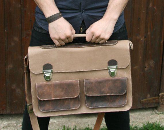 Leather Messenger Bag / Leather Laptop Briefcase / Laptop bag / Brown Leather Messenger Bag / Mens Laptop Bag / 15 inch laptop bag #handmade #transylvanianmonk