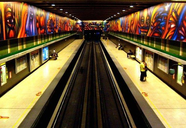 World Most Amazing Interior Design Of Subway Stations. Parque Bustamante - Metro de Santiago, Chille