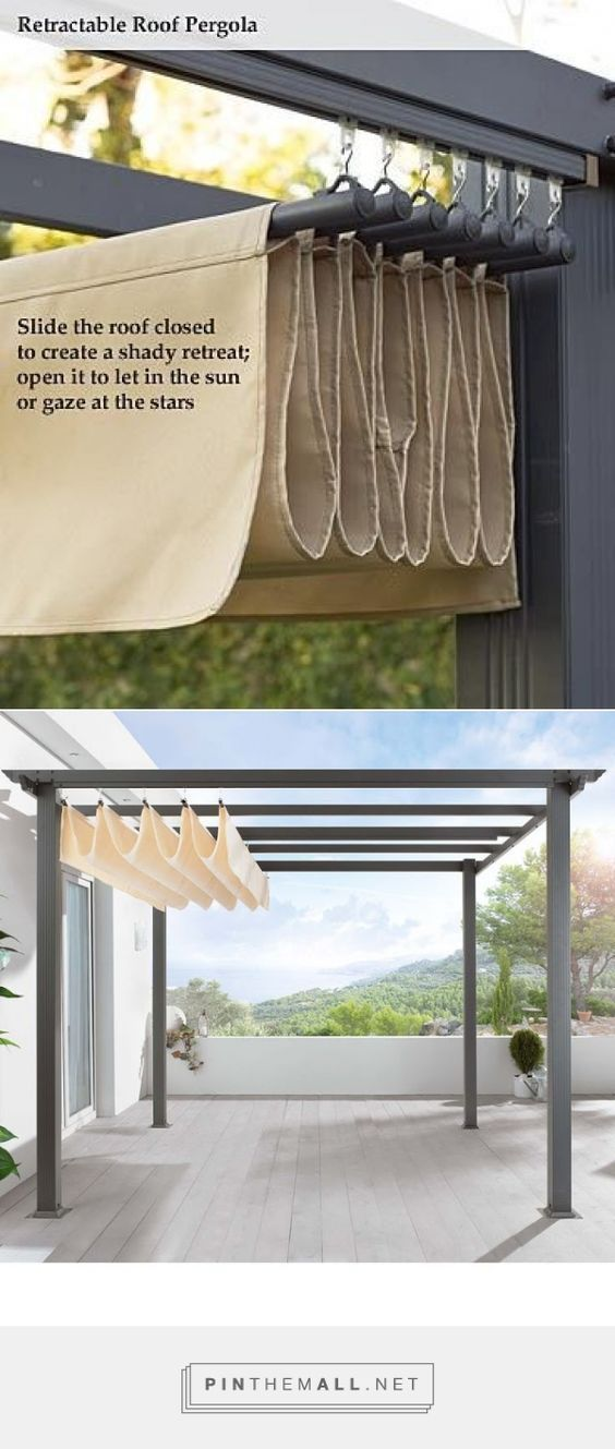 DIY Pergola Retractable Roof Shade Slide The Roof Closed To Create A Shady  Retreat; Open