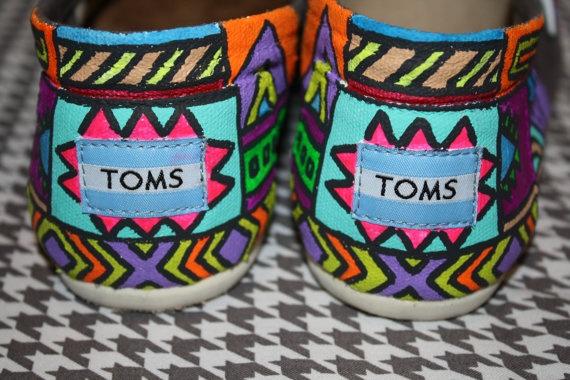 Custom Tribal Print Toms by chelmarca on Etsy, $100.00