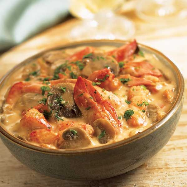 Lobster Thermidor:  With sweet chunks of Maine lobster and plenty of tender mushrooms in a hearty, cheesy cream sauce. Serve over puff pastry, toast points or pour over rice or pasta.