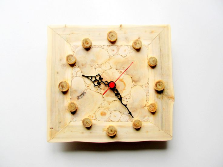 Juniper Wood Clock, Natural Handmade Wall Clock, Large Wooden Clock, Unique Gift, Untreated Wood by NaturalHomeTreasures on Etsy