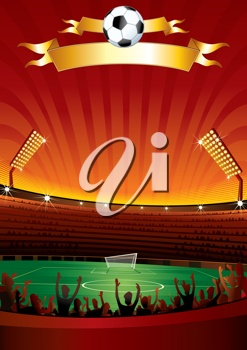 iCLIPART - Clip Art Illustration of a Large Soccer Stadium with People Cheering