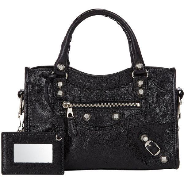 Balenciaga Arena Giant 12 Mini City (5.270 BRL) ❤ liked on Polyvore featuring bags, handbags, colorless, travel purse, black handbags, black studded handbag, mini handbags and black purse