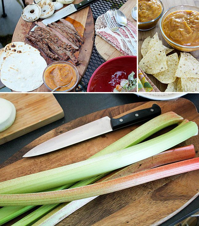 Rhubarb Week: Grilled Flank Steak Tacos with Chipotle Rhubarb Salsa