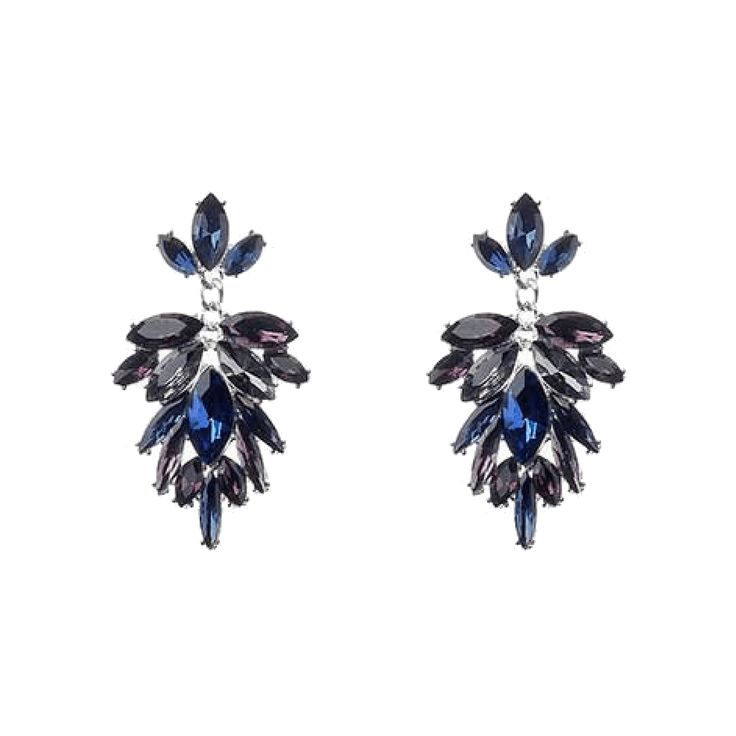 Jeminee Jewellery London | Kira Statement Earrings | Stunning deep blue, amethyst and grey rhinestone crystal statement earrings. Add some glamour to your wardrobe with these statement style earrings | #Fashion #Jewellery #Style | #Ad