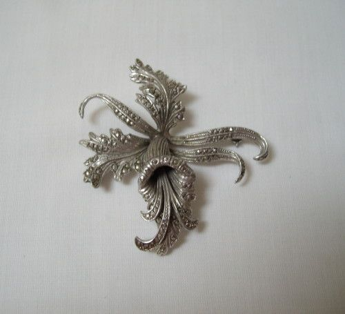 Buy VINTAGE STERLING SILVER AND MARCASITE ORCHID BROOCH c1940'sfor R495.00