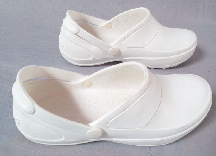 Women's Crocs Lock Shoes White Size 9 W Ankle Strap Rubber Low #Crocs #AnkleStrap