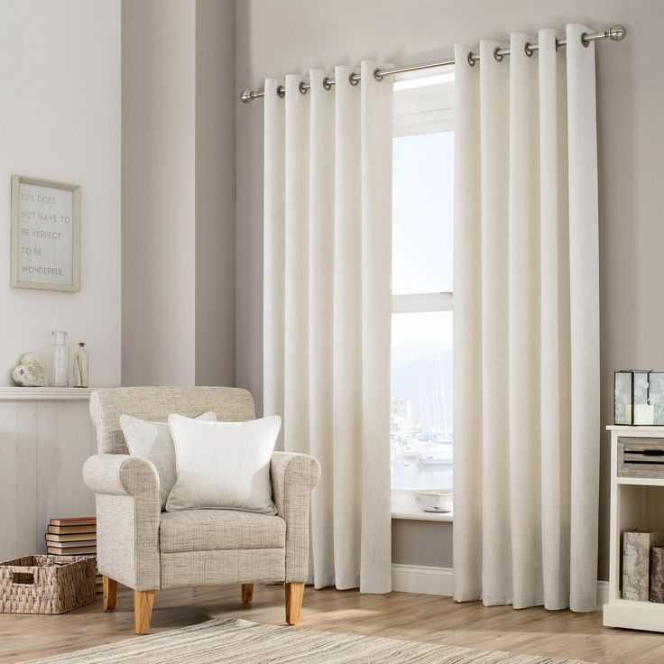 Purity Natural Lined Eyelet Curtains | Dunelm