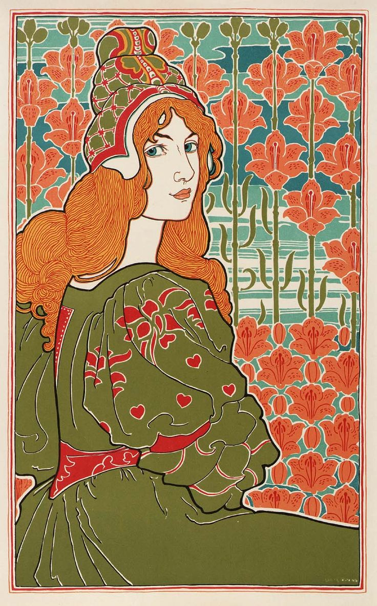 Curtis warnes butterfly chairs michigan artists gallery - Art Nouveau Jane By Louis John Rhead Postcard