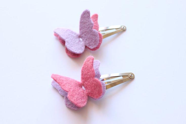 Butterfly Felt Hair Clip Set - Hair Accesories - Wool Felt - Felt Butterfly Clip - Snap Clip - Lavender and Pink. $7.00, via Etsy.