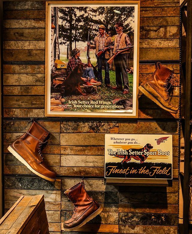 Archives Monday: Mural for the Icon! We wanted to share our 877 Irish Setter installation we just set up in our Red Wing Shoe Store Berlin. Vintage boots surrounded by an 1980s advert and a 1960s wooden sign. Since 1953 this boot has been an instant classic! www.redwingberlin.com #archivesmonday #redwing #877 #irishsetter #redwingheritage #redwingshoes #redwingboots #myredwings #redwingbhm #berlin #archives #monday #heritage #madeinusa #icon #iconic #redwings