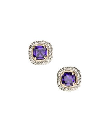 Amethyst Cubic Zirconia & Two-Tone Halo Stud Earrings #zulily #zulilyfinds