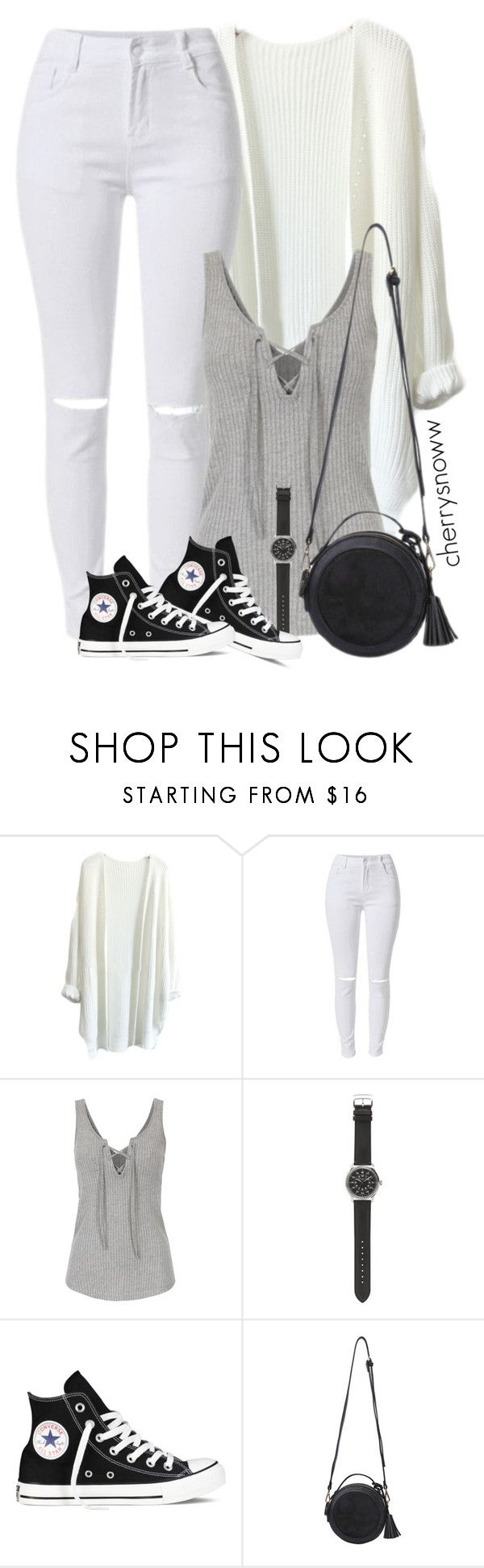 """""""Monochrome casual spring outfit"""" by cherrysnoww ❤ liked on Polyvore featuring J.Crew and Converse"""
