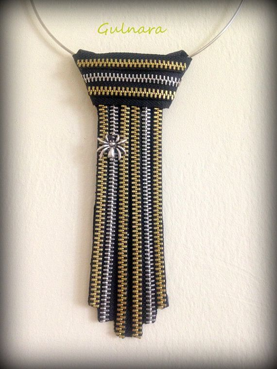 Avant Garde Style Gold and Silver Zippers Tie Necklace by Rakhmat