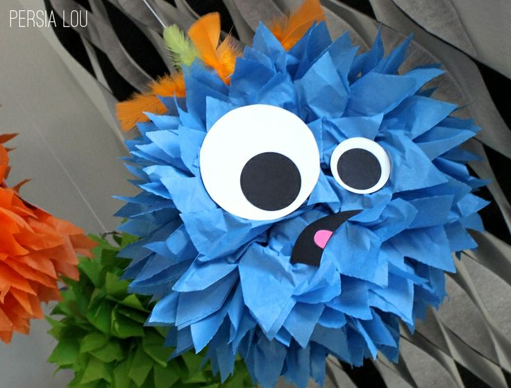 Tissue Paper Pom Pom Monsters