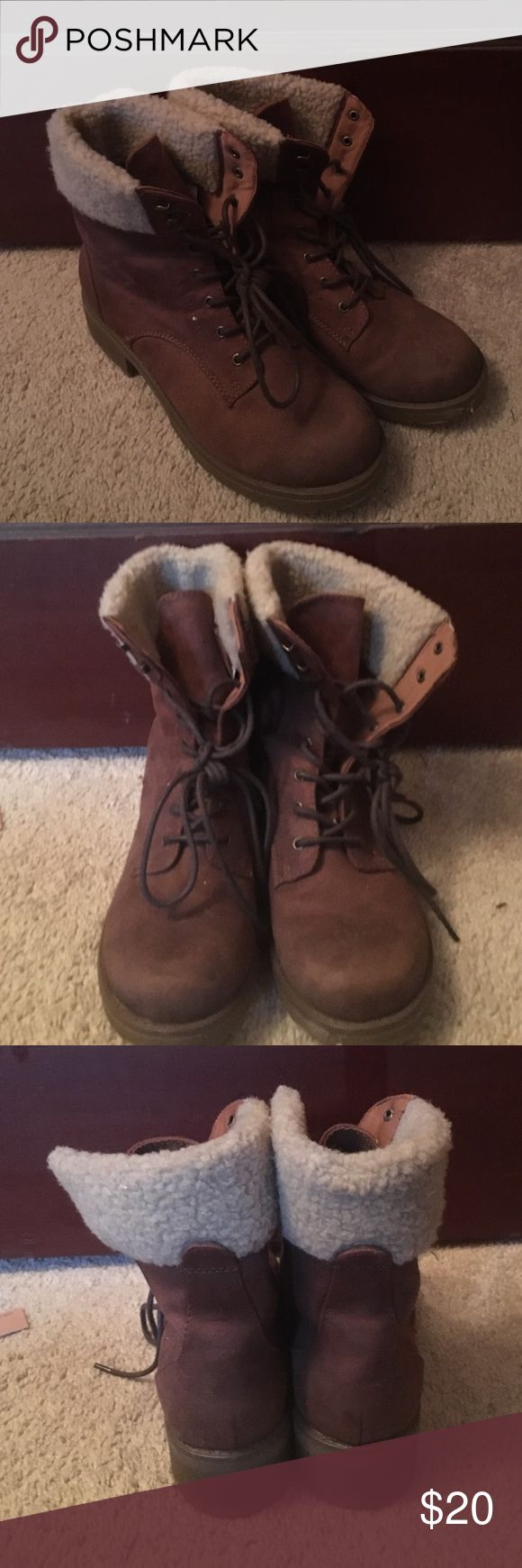 Faux Fur Ankle Boot Brown Faux Fur Ankle Boots • Only worn once! Shoes Ankle Boots & Booties
