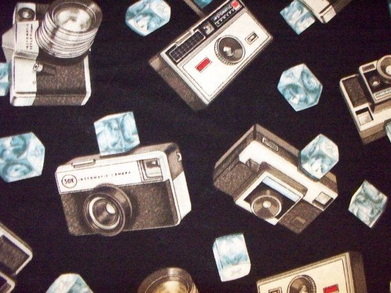 Retro Instamatic Cameras Cotton Fabric by scizzors on Etsy, $2.99