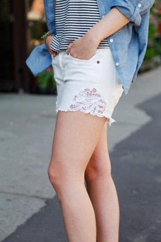 Transform your old jeans to a pair of lacy patch shorts!