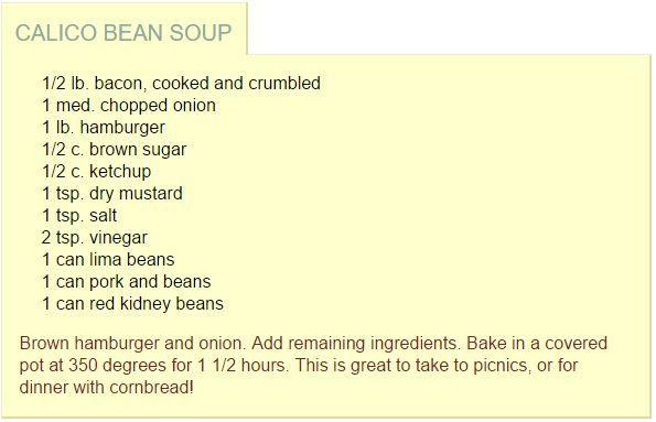 Calico Bean Soup Recipe