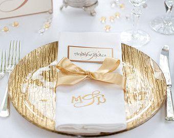 Personalised Monogram Wedding Napkins with Classic Monogram, Monogram Napkins, Personalised Napkins, Cloth Napkins, Cotton Napkins