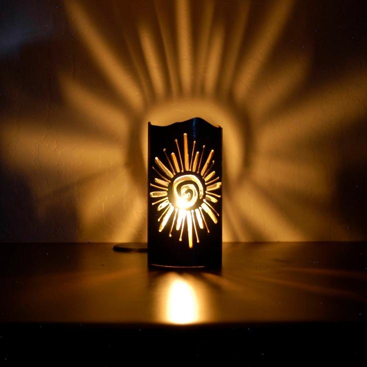 Southwest Sun Petroglyph- Decorative Metal Candle Holder.