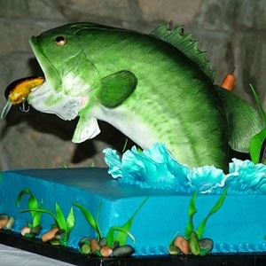 Fish in motion grooms cake