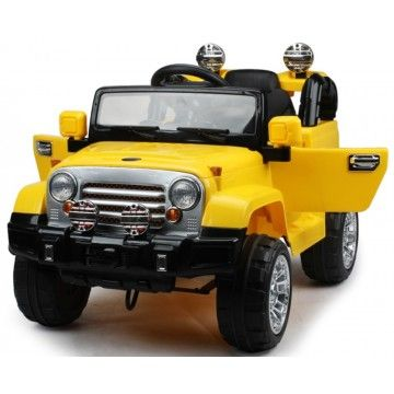 Limited Edition 12v Jeep Wrangler Style Kids Ride on Car with RC - Yellow - Exclusive ride on Jeep Wrangler kids for beginner drivers  with parental remote control and all latest features.
