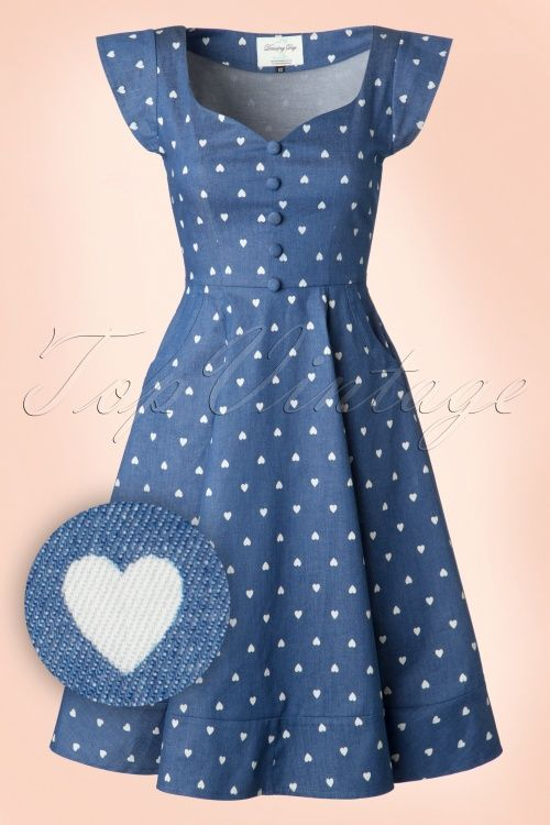 Dancing Days by Banned - 50s Judy Hearts Swing Dress in Denim