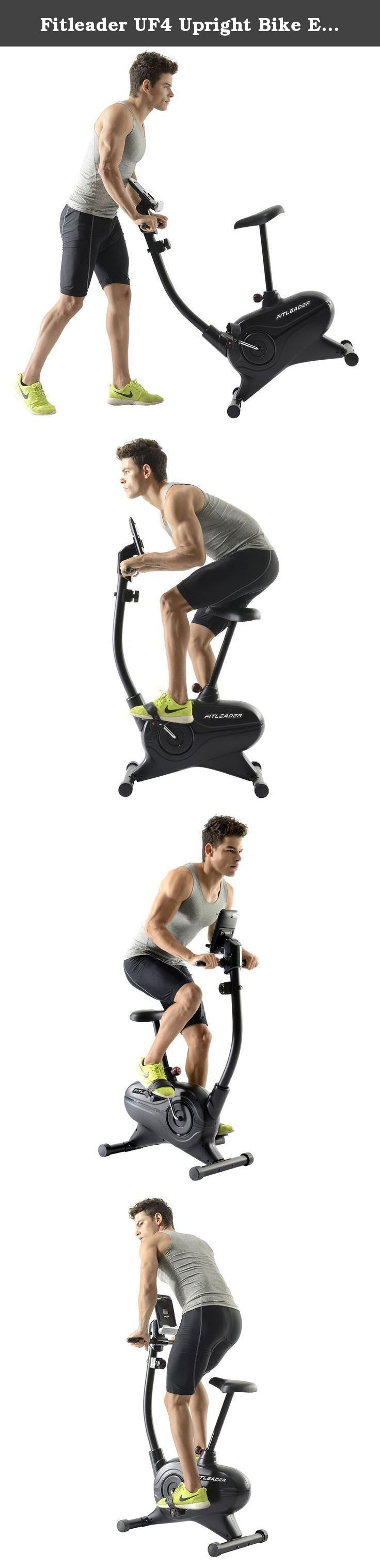 Fitleader UF4 Upright Bike Exercise Indoor Stationary Bike Magnetic Belt Cardio Cycle Resistance Foldable Cycling. Description: Why Choose a Fitleader Upright Bike? Are you still trying to find the economy stationary bike for your home gym? If so, the Fitleader UF4 upright bike is the high quality, competitively priced exercise bike you??ve been looking for! With its eight resistance levels and progress readouts for speed, RPM, time, distance, watts, calories and pulse, the UF4 is exactly...