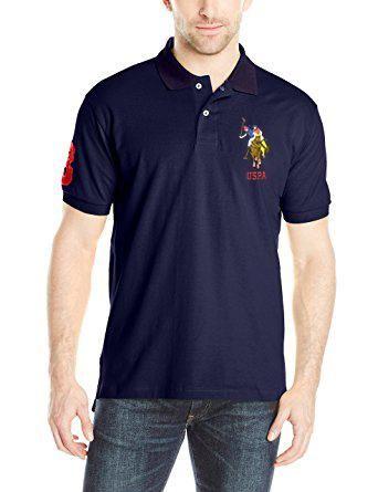 U.S. Polo Assn. Men Navy Blue Solid Polo T-shirt #tshirt #onlinemenstshirt #onlineshopping #style #fashion #menswear