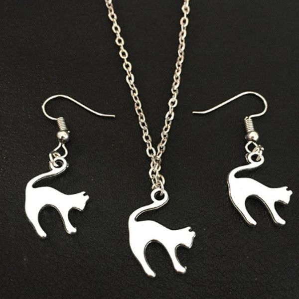 CAT Jewelry Set NECKLACE AND EARRING – PawzOutlet