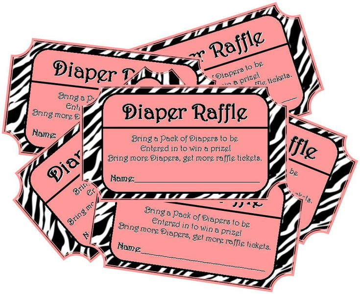 INSTANT DOWNLOAD  Pink Zebra Print Printable Baby Shower Diaper Raffle  Ticket