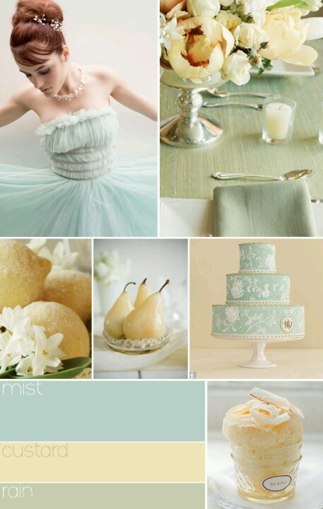 Spring wedding colors - blue, yellow, green. love these colors with a vintage theme and the non-white dress