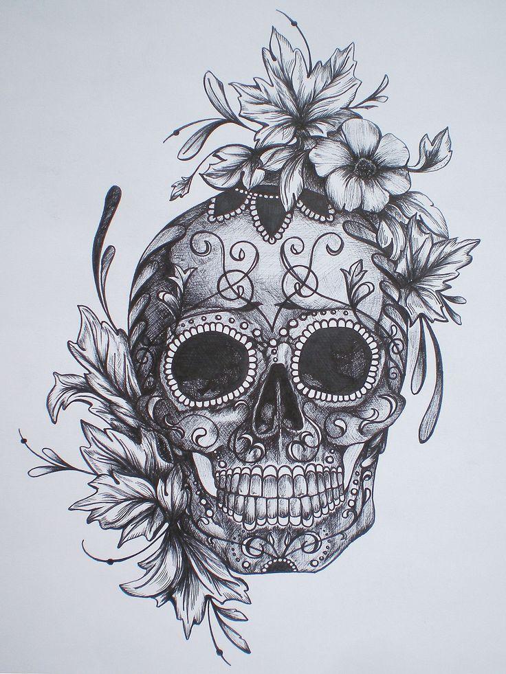 sugar skull drawing side view - Google Search