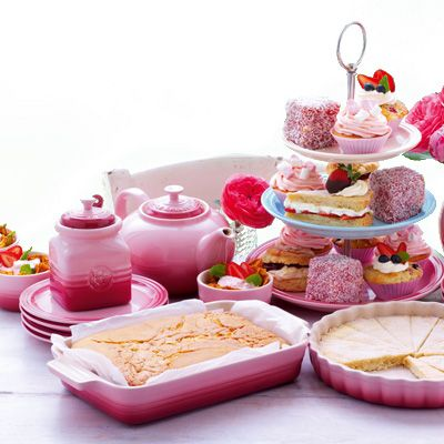 le creuset strawberry tea collection...perfect for high tea at home with friends
