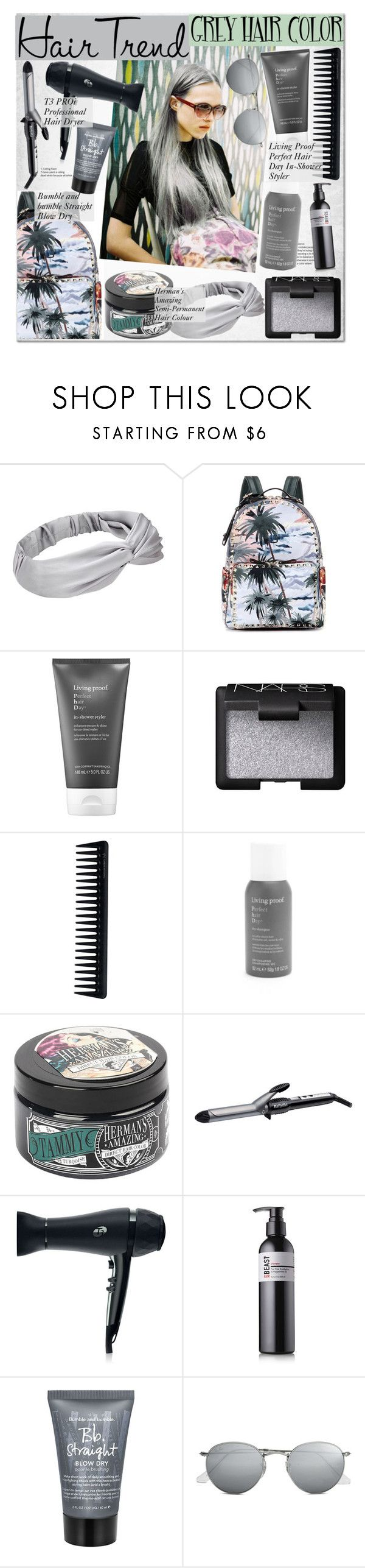"""No 479:Grey Hair Color"" by lovepastel ❤ liked on Polyvore featuring beauty, Valentino, Living Proof, NARS Cosmetics, GHD, BaByliss, T3, Bumble and bumble, Ray-Ban and unicornhair"