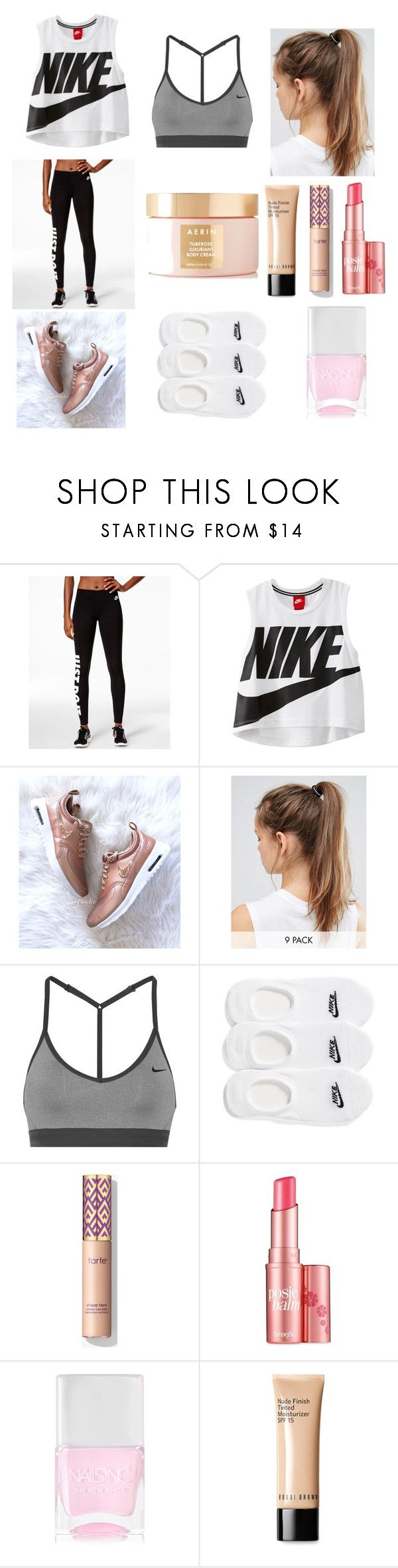 """""""Nike Workout Outfit"""" by indiac-joseph on Polyvore featuring NIKE, Benefit, Nails Inc., Bobbi Brown Cosmetics and AERIN"""