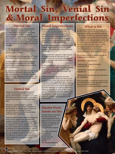 Mortal Sins, Venial Sins, and Moral Imperfections Explained Poster - Catholic to the Max - Online Catholic Store