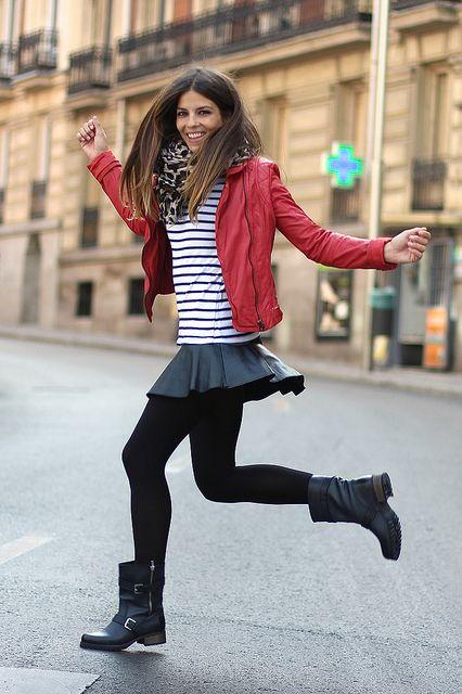 trendy_taste-look-outfit-street_style-red_leather_jacket-it_shoes-black_boots-botas_negras-striped_tee-camiseta_rayas-leo_scarf-zara-polaroid by Trendy Taste, via Flickr