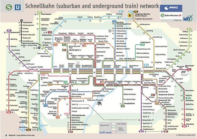Munich Transportation Map Train Map Metro Map Subway Map