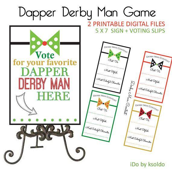 Kentucky Derby Game - Kentucky Derby Party Decorations - Kentucky Derby Party - KY Derby Party - Best Dressed Man Contest - Printable