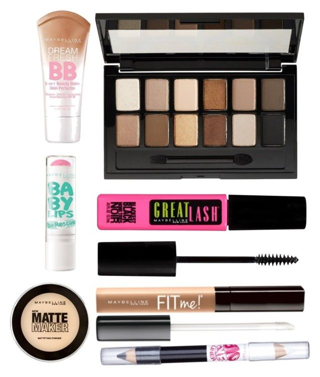 """""""Beginners Make up Starter Kit"""" by jenna-arcilla ❤ liked on Polyvore featuring beauty and Maybelline"""