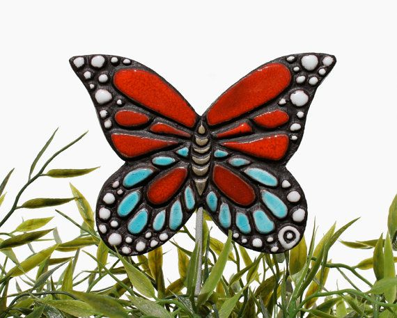 butterfly garden art - plant stake - garden ornament - red and turquoise monarch butterfly