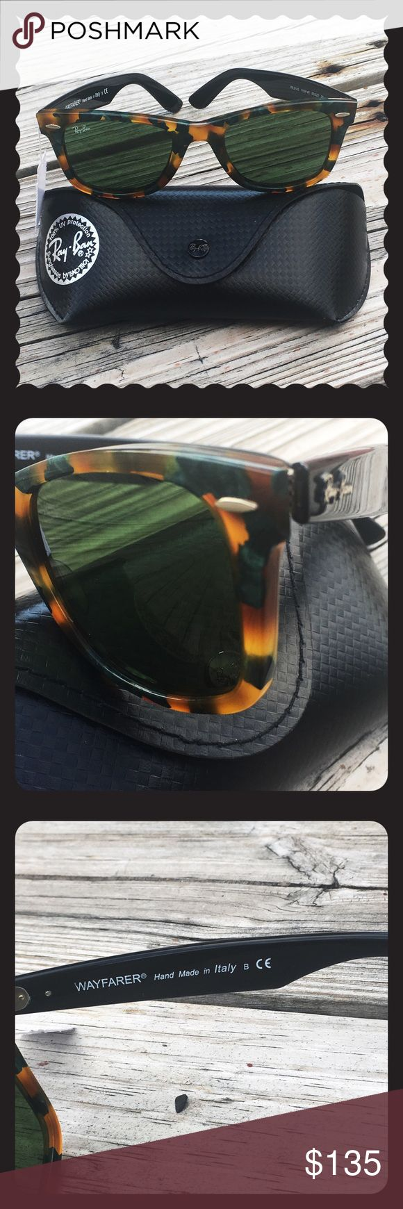 NWT Ray Ban Wayfarer Fleck Sunglasses + black case Brand new with tags and black Ray-Ban glasses case.  Perfect condition.  Square style plastic frame with green polarized lens. UV protection.  Lens 52 mm x bridge 18 mm x arms 145 mm (approx). NEXT DAY SHIPPING No trades Ray-Ban Accessories Sunglasses