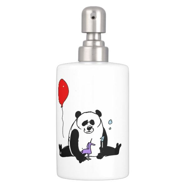 Zahnbürstenhalter und Seifenspender Set: Panda spielt mit Einhornpipi Seifenblasen