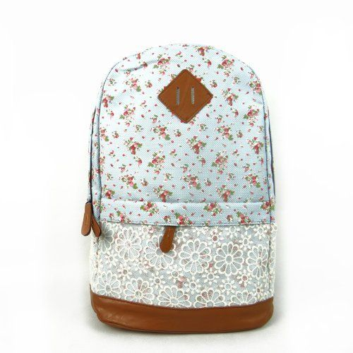 Eforstore Cute Lace Vintage Countryside Flora School Student Backpack College Laptop Bags Rucksack For Young Women Teens Girls