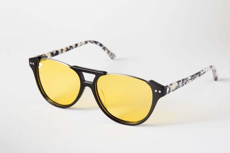 Gafas de sol de diseño con la firma de Francesco Alato. Lentes de moda amarillas con filtro 100% UV polarizadas. Montura de acetato mixto pulido / The best sunglasses. Fantastic eyewear.