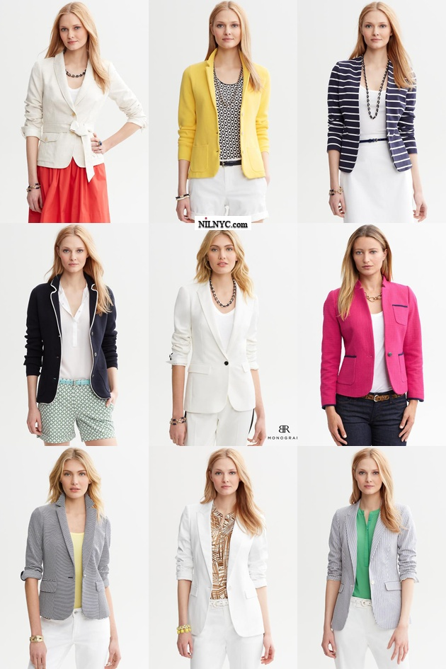 Colorful Blazer Collection of Banana Republic 2013 Spring Summer White, Yellow, Blue, Navy, Pink, Green, Grey Jackets